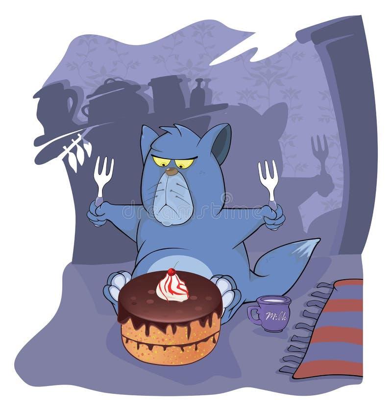 Кот и торт шарж бесплатная иллюстрация