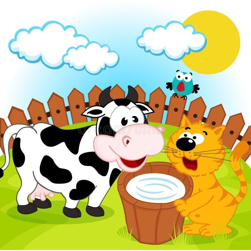 Кот, корова и молоко иллюстрация вектора. иллюстрации ...