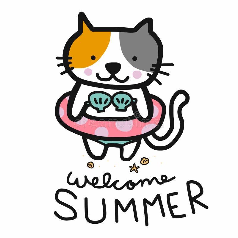 Кот лета добро пожаловать милый был стиль doodle иллюстрации мультфильма кольца бикини и заплыва иллюстрация штока