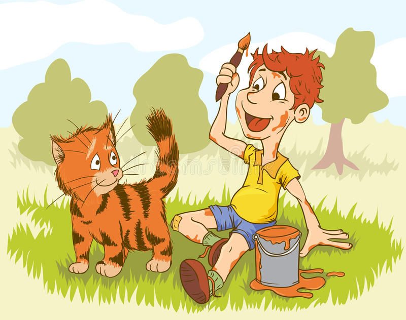 кот мальчика рисует иллюстрация штока