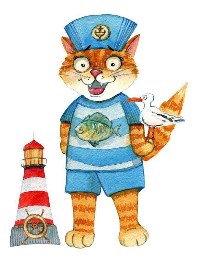 Кот матроса с маяком и чайкой иллюстрация штока