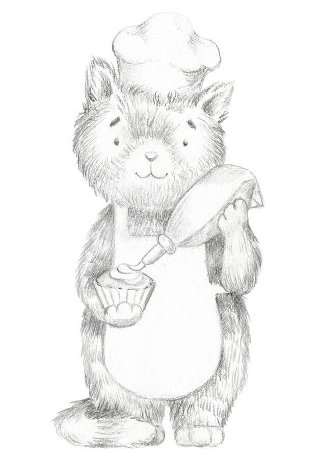 Кот мультфильма карандаша руководства графический украшает сливк пирожного иллюстрация штока