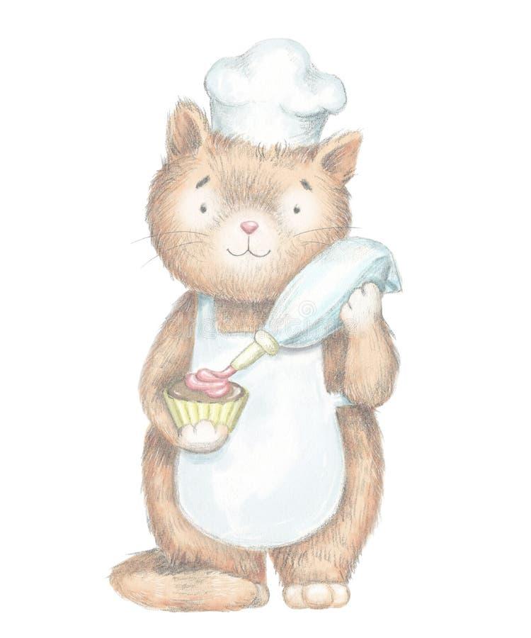 Кот мультфильма карандаша руководства графический украшает сливк пирожного иллюстрация вектора