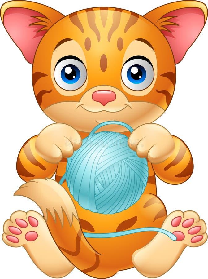 Кот младенца шаржа играя с шариком голубой пряжи иллюстрация вектора