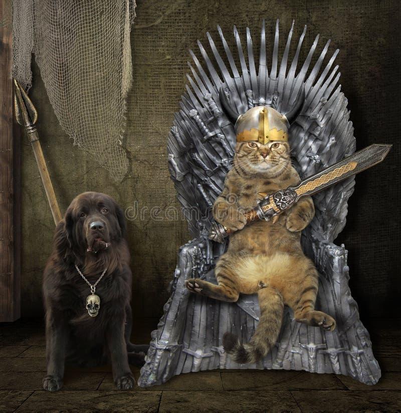 Кот на троне утюга и собаке 2 стоковые фотографии rf