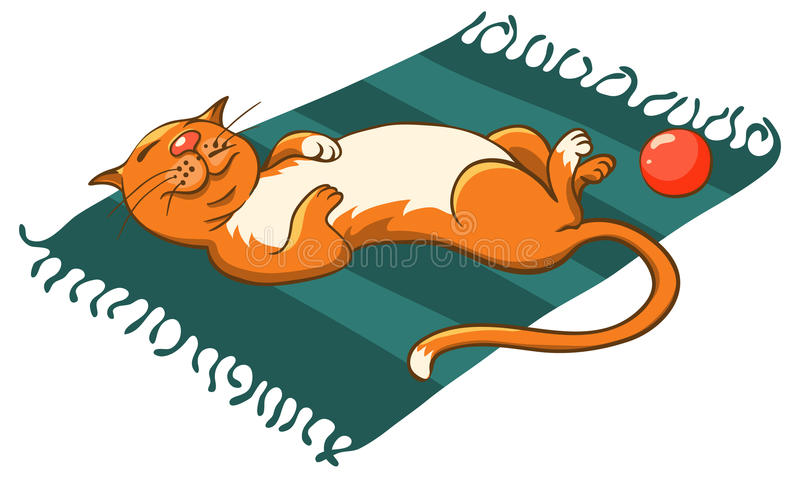 Кот на циновке иллюстрация вектора