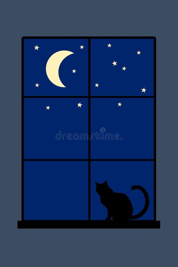 Кот ночи иллюстрация штока