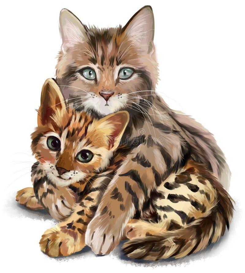 Кот обнимает котенка иллюстрация штока