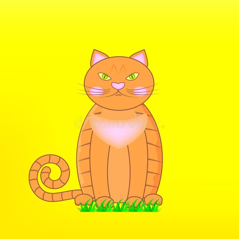 Кот персонажа из мультфильма оранжевый великобританский на зеленой траве Красный сварливый великобританский мужской кот на желтой иллюстрация штока
