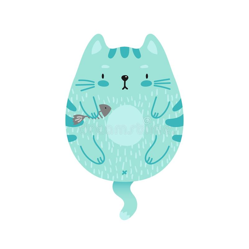 Кот покрашенный Doodle зеленый иллюстрация вектора