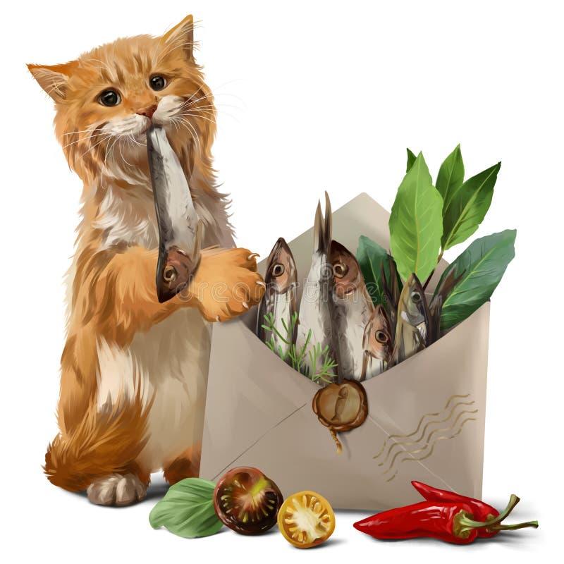 Кот получил рыбу в письме картины акварели иллюстрация вектора
