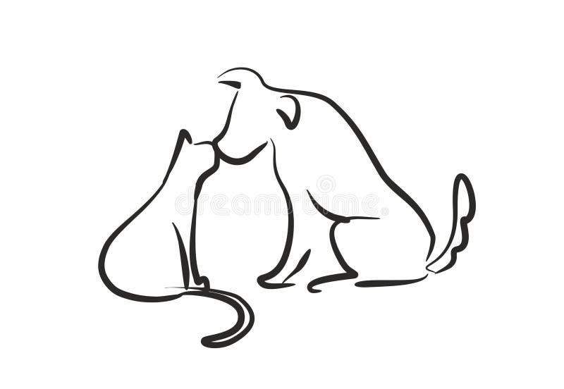 Кот поцелуя собаки иллюстрация вектора