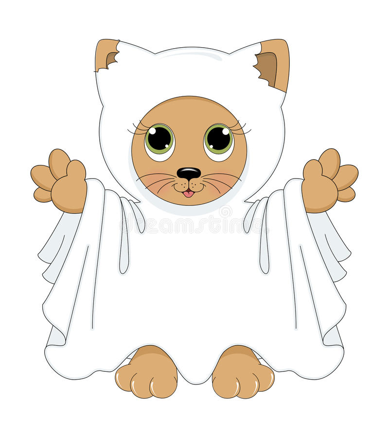 Кот привидения Halloween иллюстрация вектора