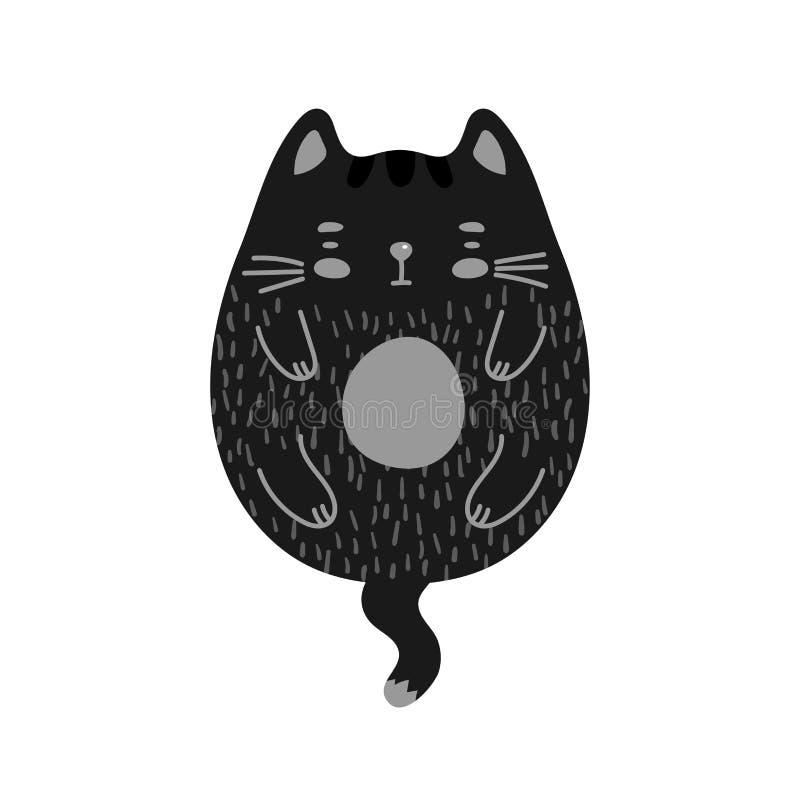 Кот пробуренный Doodle черный иллюстрация штока