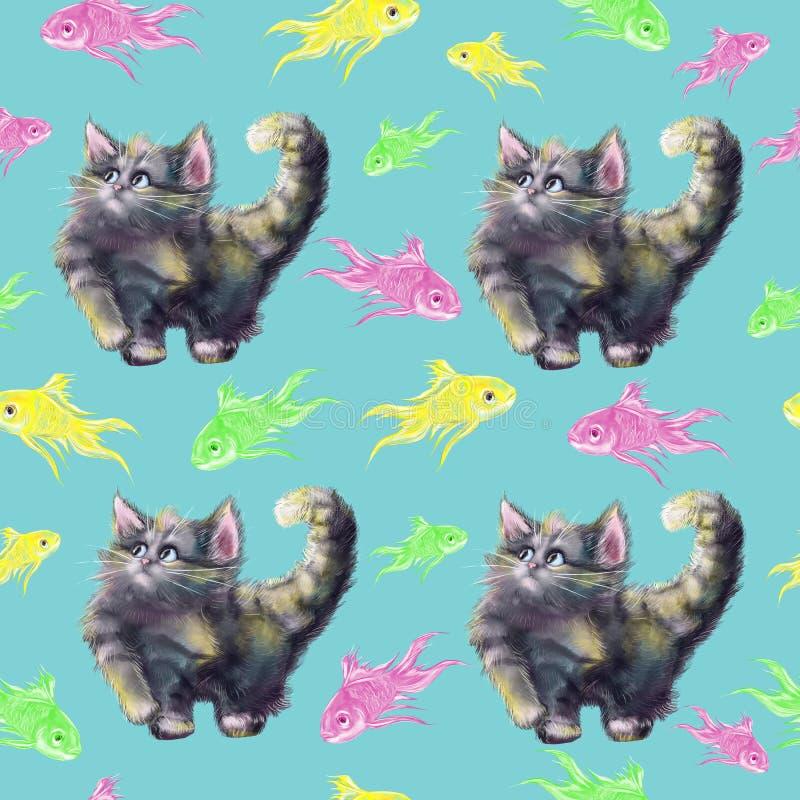 Кот руки акварели вычерченный красочный играя с картиной рыб безшовной бесплатная иллюстрация