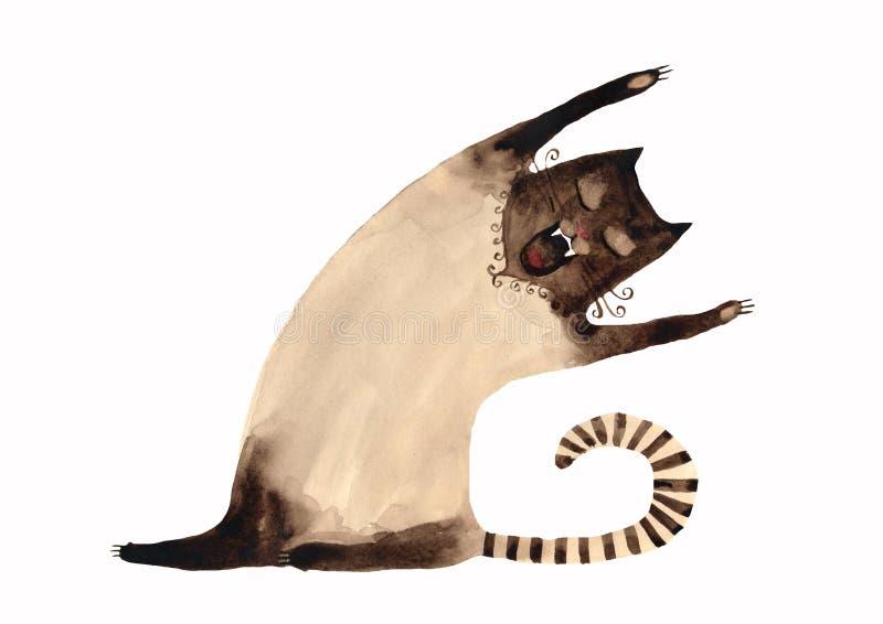 кот сиамский иллюстрация штока