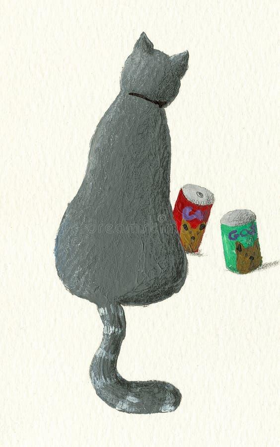 Кот сидит назад покрашенный на бумаге искусства иллюстрация вектора