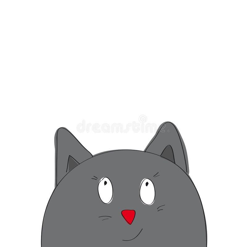 Кот смешного шаржа серый смотря от внизу страницы иллюстрация вектора