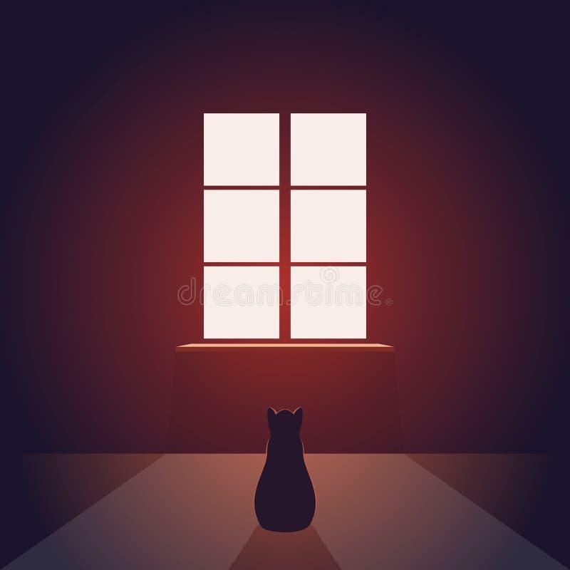 Кот смотрит вне окно Пустая комната вечера или ночи с светом от окна на поле Несоосность любимчика Концепция иллюстрация вектора