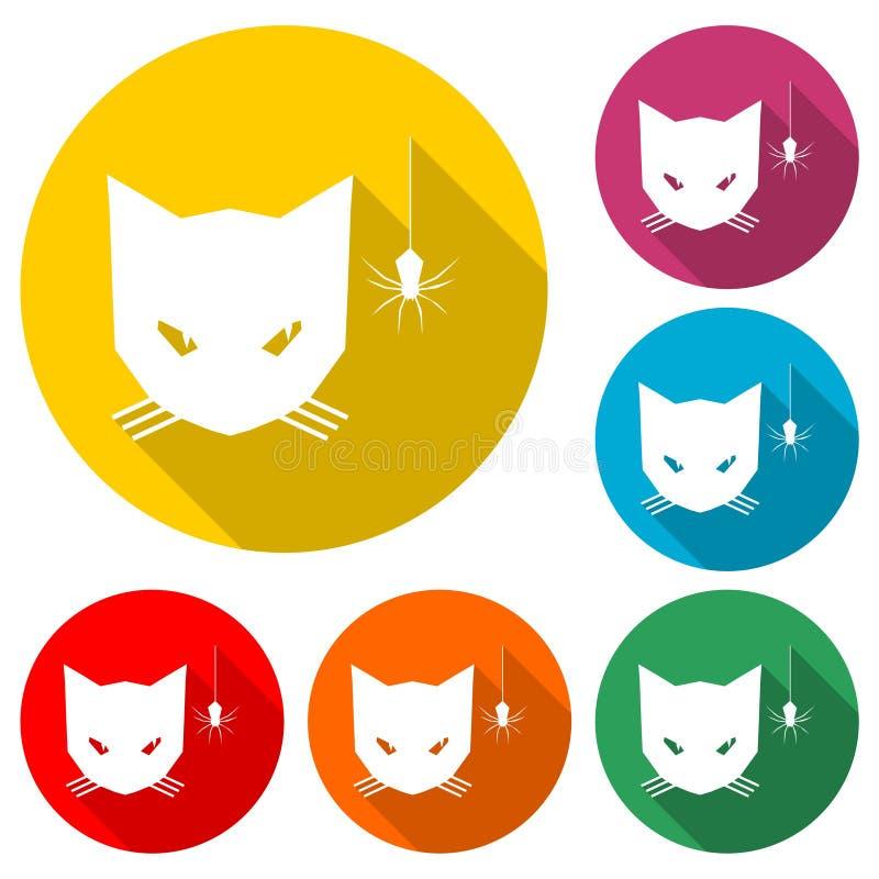 Кот смотря значок паука или логотип, набор цвета с длинной тенью иллюстрация вектора