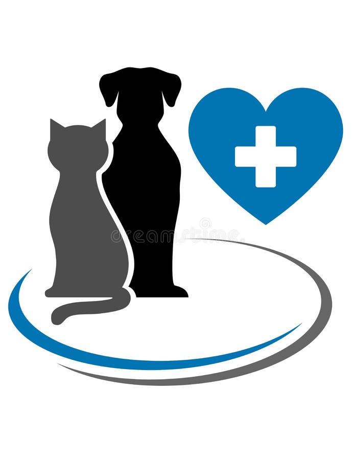 Кот собаки и голубое сердце иллюстрация штока