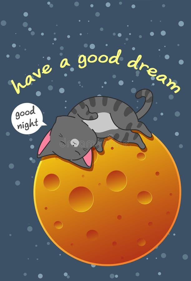 Кот спать на луне в стиле мультфильма иллюстрация вектора