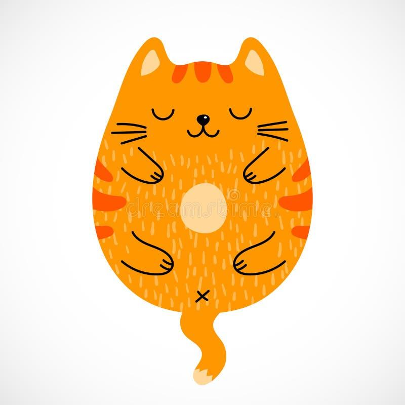 Кот спать Doodle красный иллюстрация штока