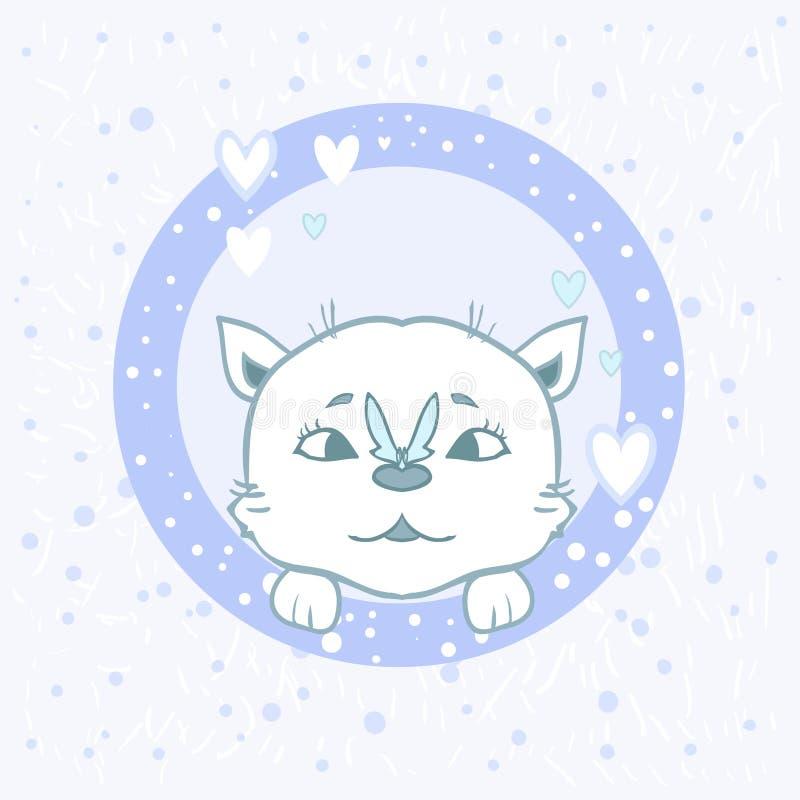 Кот стикера с бабочкой - славный вектор шаржа pets чертеж младенца для детей Милые лапки котенка мальчика карточки иллюстрация вектора