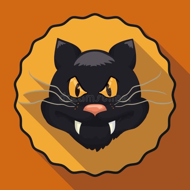 Кот стиля шаржа в плоском длинном значке тени, иллюстрации вектора бесплатная иллюстрация