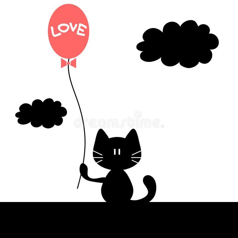 Кот с воздушным шаром иллюстрация вектора
