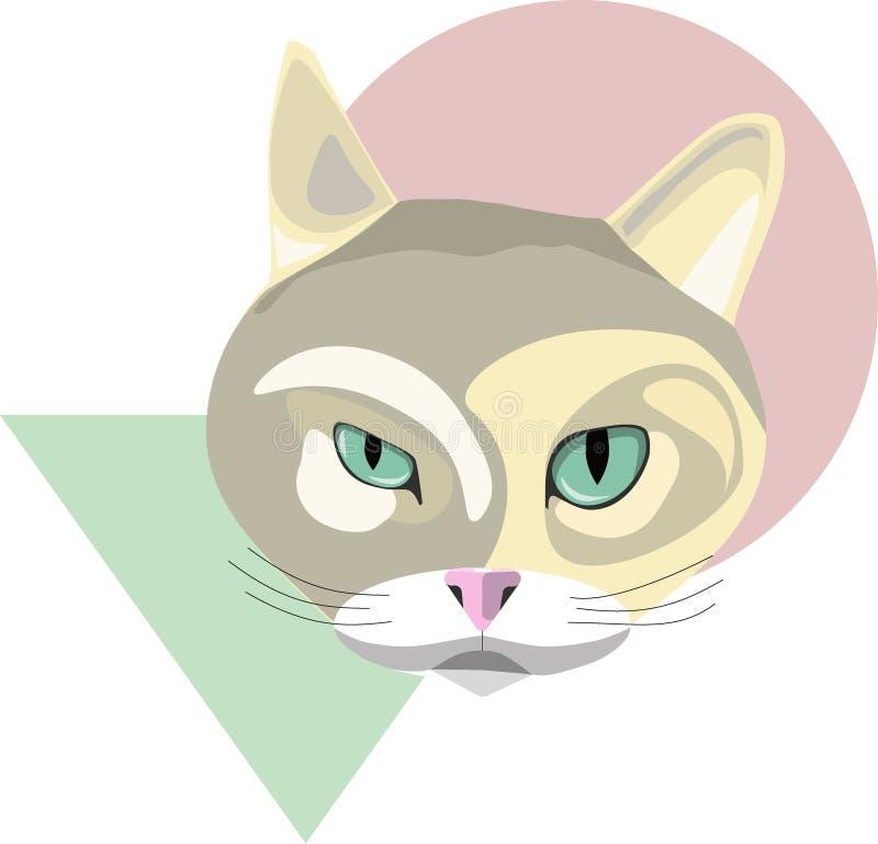 Кот с квадратом и кругом иллюстрация вектора