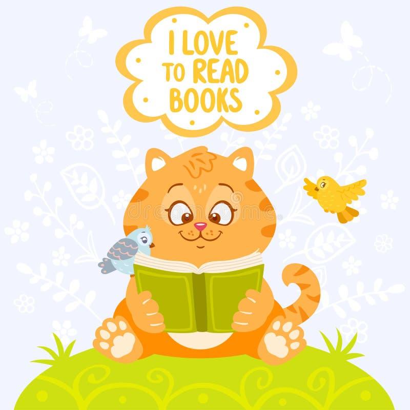 Кот с книгой иллюстрация вектора