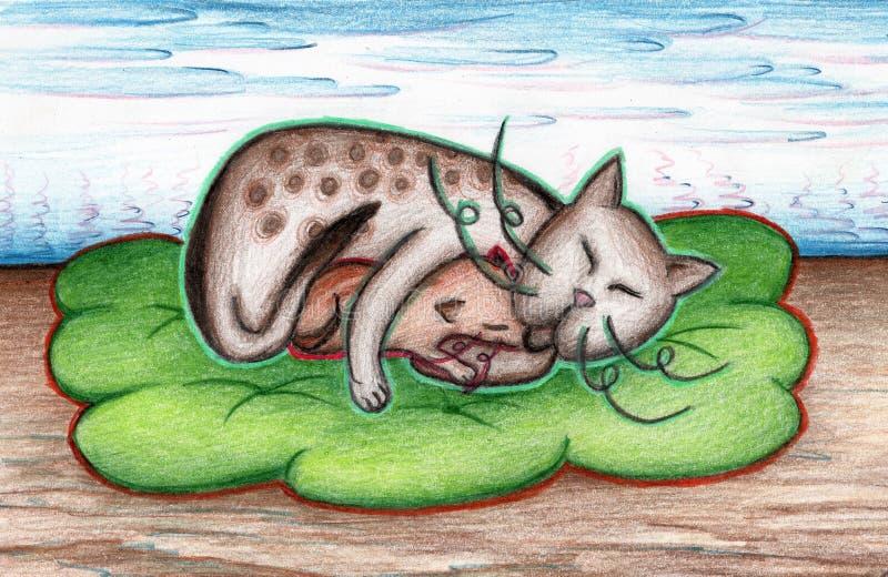Кот с котенком на зеленой шотландке с ландшафтом цветка стоковое изображение rf