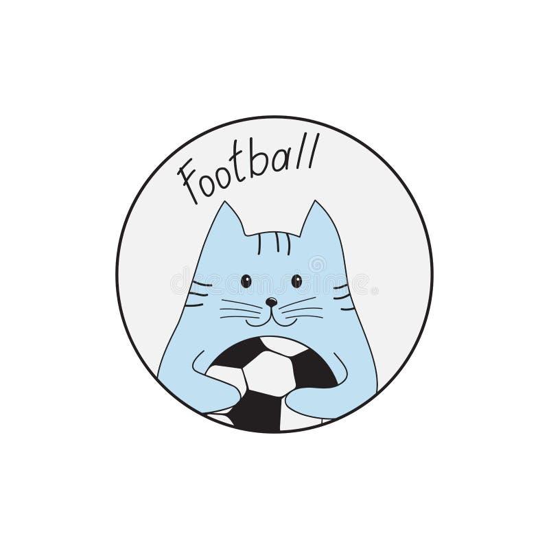 Кот с футбольным мячом также вектор иллюстрации притяжки corel иллюстрация вектора