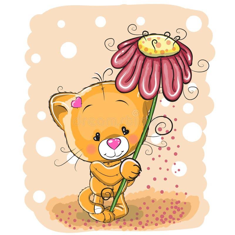 Кот с цветком иллюстрация штока