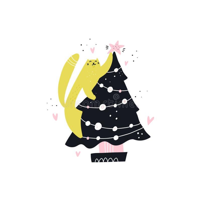 Кот украшает характер руки рождественской елки вычерченный иллюстрация вектора
