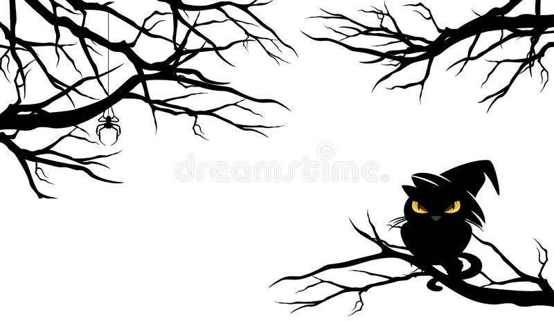 Кот хеллоуина черный на обнаженном дизайне вектора ветвей дерева иллюстрация штока