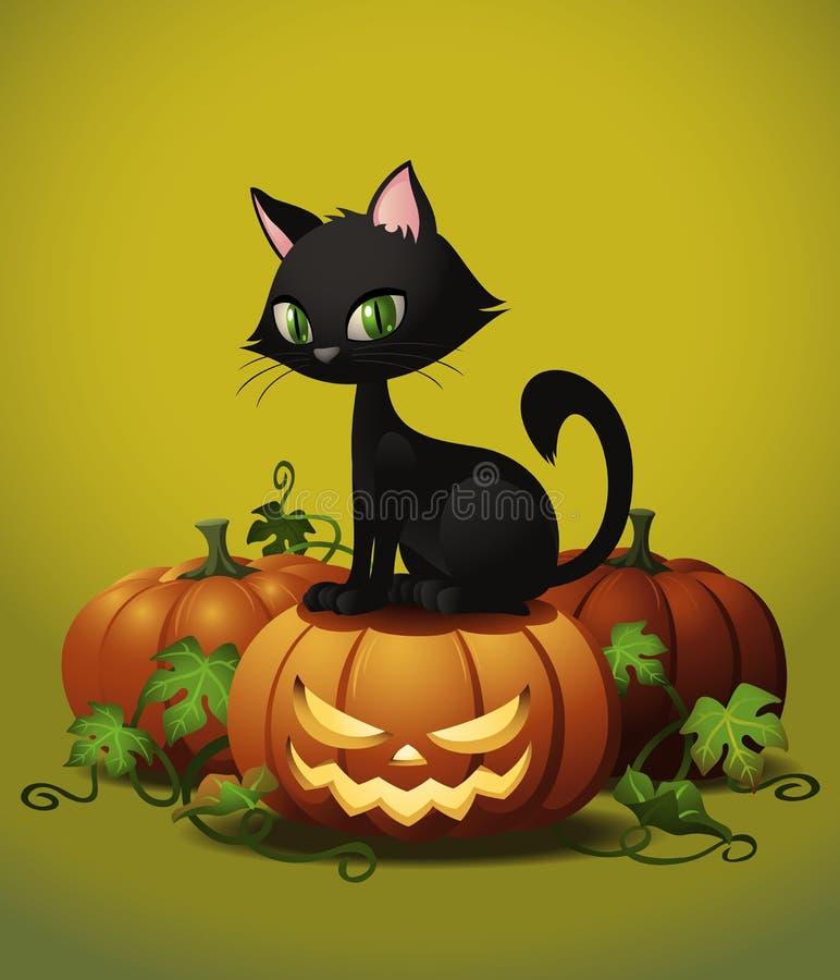 Кот хеллоуина на тыкве бесплатная иллюстрация