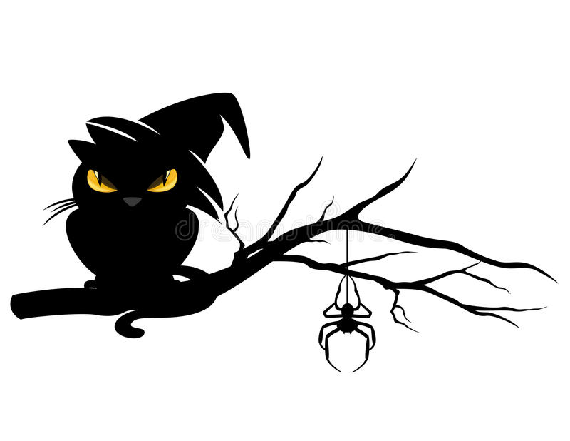 Кот хеллоуина черный на ветви дерева бесплатная иллюстрация