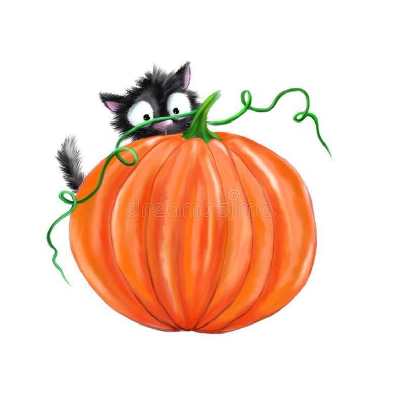 Кот хеллоуина черный с тыквой иллюстрация штока