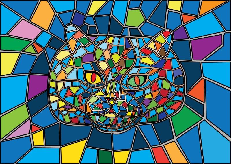 Кот цветное стекл и пестротканое стекло иллюстрация вектора