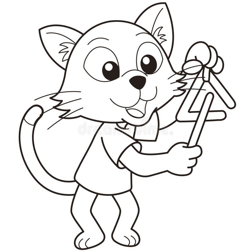 Кот шаржа играя треугольник иллюстрация штока