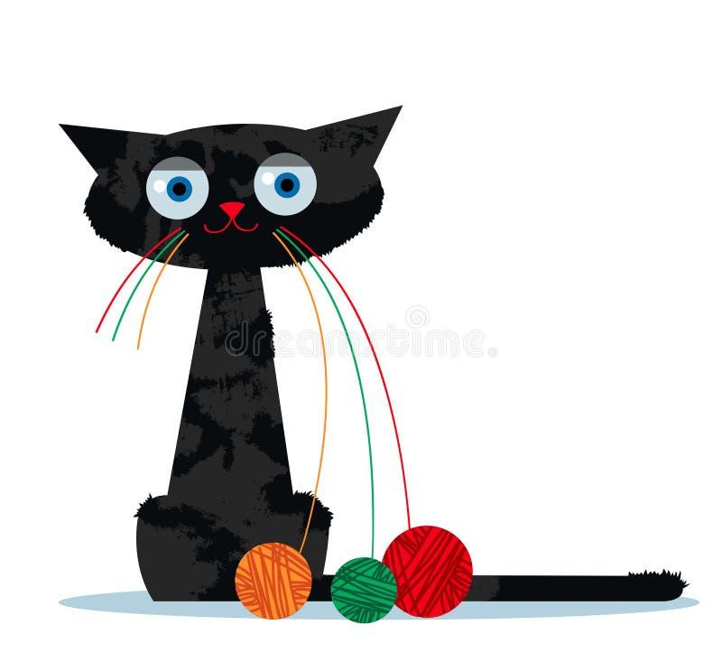 Кот шаржа и клубок пряжи стоковое изображение rf