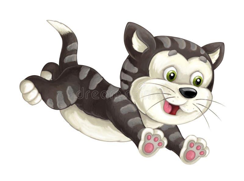 Кот шаржа счастливый скачущ и смотрящ - художественный стиль - изолирован иллюстрация штока
