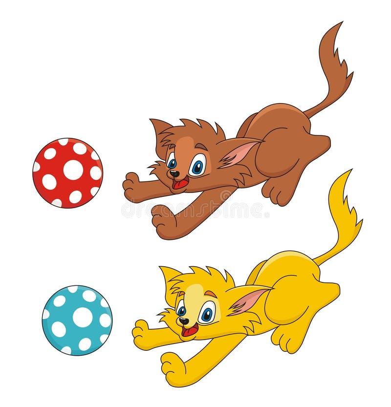 кот шаржа шарика играя вектор стоковая фотография