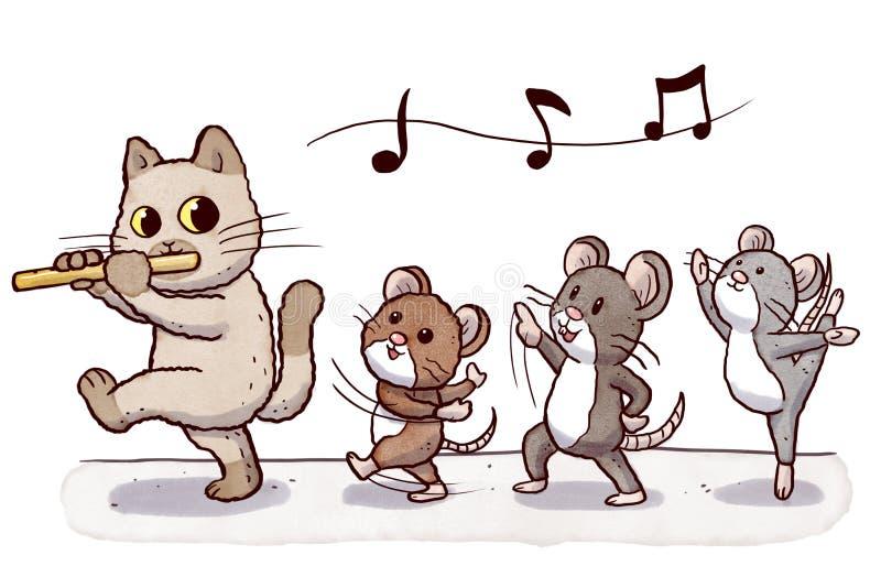 Кот Flautist следовать 3 танцуя крысами иллюстрация вектора