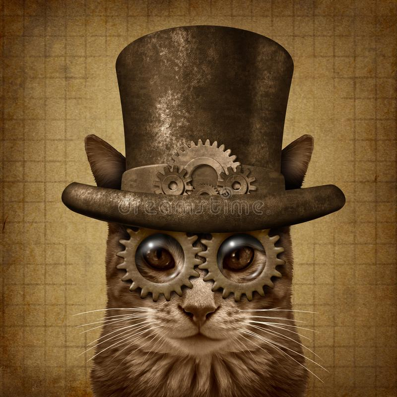 Кот Grunge Steampunk иллюстрация штока