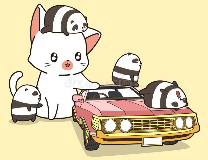 Кот Kawaii гигантский и небольшие панды с розовым автомобилем иллюстрация штока