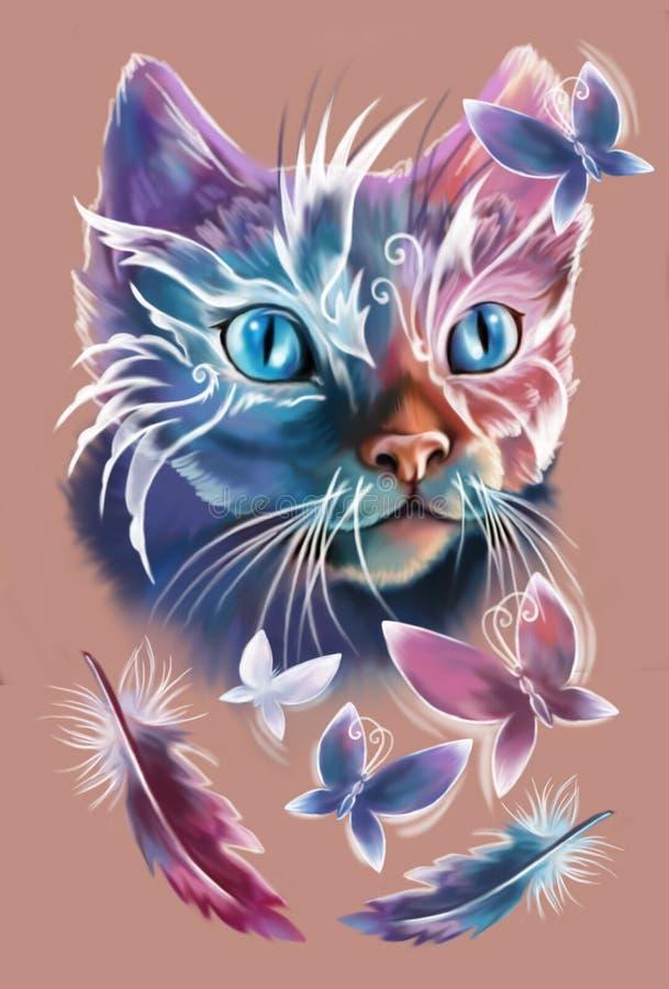 Кот Magik с 4 бабочками стоковое изображение