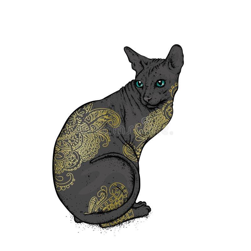 Кот Sphynx покрашенный с искусством тела картин также вектор иллюстрации притяжки corel иллюстрация вектора